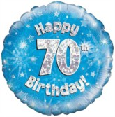 """18"""" 70th Birthday Blue Holographic Foil Balloon"""