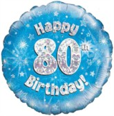 """18"""" 80th Birthday Blue Holographic Foil Balloon"""