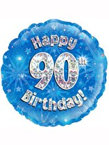 """18"""" 90th Birthday Blue Holographic Foil Balloon"""