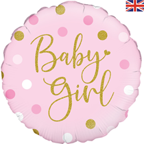 """Sparkling Pink Baby Girl Dots 18"""" Foil Balloon"""