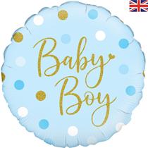 "Sparkling Blue Baby Boy Dots 18"" Foil Balloon"