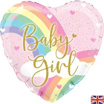 """Pastel Rainbow Baby Girl 18"""" Foil Balloon"""