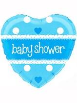 "Blue Heart Shaped Baby Shower Foil Balloon 18"""