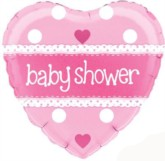 """Pink Heart Shaped Baby Shower Foil Balloon 18"""""""