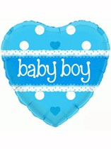 """18"""" Holographic Heart Baby Boy Foil Balloon"""