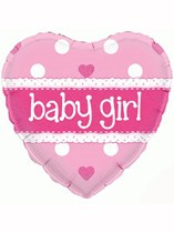 """18"""" Holographic Heart Baby Girl Foil Balloon"""