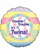 """18"""" Double Trouble New Baby Twins Foil Balloon"""