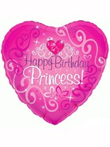 "Happy Birthday Princess 18"" Heart Foil Balloon"