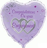"Heart Shaped Engagement 18"" Foil Balloon"