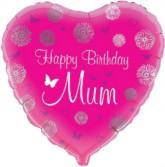"""18"""" Happy Birthday Mum Foil Heart Balloon"""