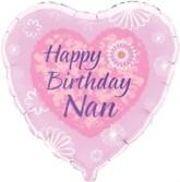 "18"" Happy Birthday Nan Foil Heart Balloon"