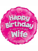 """18"""" Happy Birthday Wife Holographic Foil Balloon"""