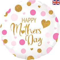 """Mother's Day Pink Confetti Holographic 18"""" Foil Balloon"""