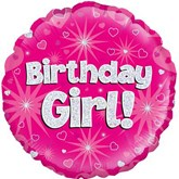 """Birthday Girl Pink Holographic 18"""" Foil Balloon"""
