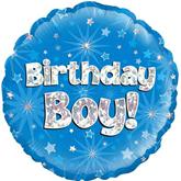 "Birthday Boy Blue Holographic 18"" Foil Balloon"