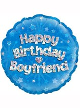 "18"" Happy Birthday Boyfriend Holographic Foil Balloon"