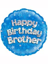 """18"""" Happy Birthday Brother Holographic Foil Balloon"""