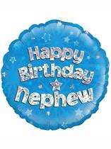 """18"""" Happy Birthday Nephew Holographic Foil Balloon"""