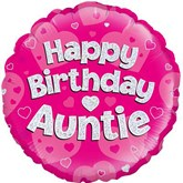 """Happy Birthday Auntie Pink 18"""" Holographic Foil"""