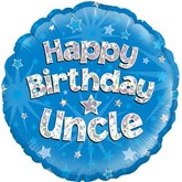 """Happy Birthday Uncle Blue Holographic 18"""" Foil Balloon"""