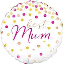 "Best Mum Holographic Confetti 18"" Foil Balloon"