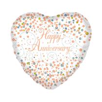 "Happy Anniversary Sparkling Fizz White 18"" Foil Balloon"