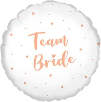 Team Bride Rose Gold White 18 Inch Foil Balloon