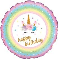 "Flowers Unicorn Birthday Holographic 18"" Foil Balloon"