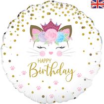"""Floral Kitten Birthday 18"""" Foil Balloon"""