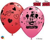 """Disney Minnie & Mickey I Love You 11"""" Latex Balloons 25pk"""