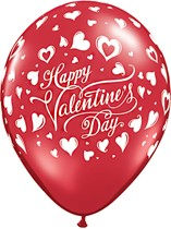 """Valentine's Classic Hearts 11"""" Ruby Red Latex Balloons 6pk"""