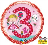 "Rachel Ellen 18"" 3rd Birthday Girl Foil Balloon"