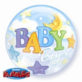 """Baby Boy Moon & Stars Bubble Balloon 22"""""""