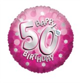 """18"""" 50th Birthday Pink Sparkle Holographic Foil Balloon with Ribbon"""