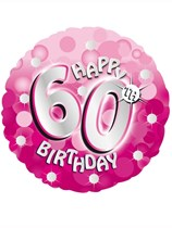 """18"""" 60th Birthday Pink Sparkle Holographic Foil Balloon with Ribbon"""