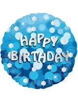 """18"""" Happy Birthday Blue Sparkle Holographic Foil Balloon"""