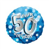 """18"""" 50th Birthday Blue Sparkle Holographic Foil Balloon"""