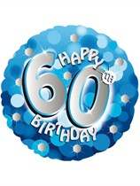 """18"""" 60th Birthday Blue Sparkle Holographic Foil Balloon"""