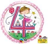 """Rachel Ellen 18"""" 4th Birthday Fairy Balloon"""