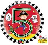 "Rachel Ellen 18"" 5th Birthday Pirate Balloon"