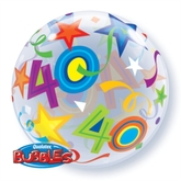 "40th Birthday Brilliant Stars Bubble Balloon 22"""
