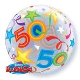 "50th Birthday Brilliant Stars Bubble Balloon 22"""