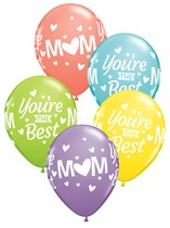 """Mum You're The Best Sorbet Assorted 11"""" Latex Balloons 50pk"""