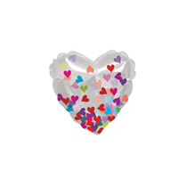 """Valentine Clear Confetti Hearts 4.5"""" Mini Foil Balloon"""