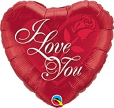 """I Love You Red Rose 18"""" Foil Heart Balloon"""