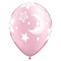 Pink Moon and Stars Printed Latex Balloons 25 Pack