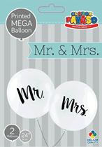 """Wedding Mr & Mrs 2ft (24"""") White Latex Balloons 2pk"""
