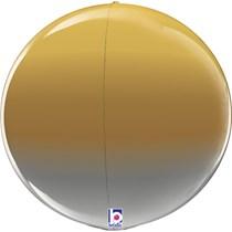 """Gold Silver Metallic Ombre 22"""" Foil Globe Balloon"""