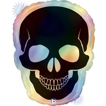 "Halloween Holo Opal Skull 27"" Foil Balloon"