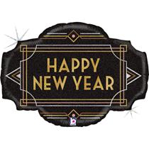 "Art Deco Happy New Year 32"" Foil Balloon"
